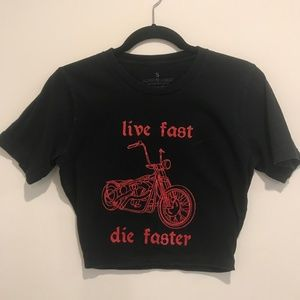 """Live Fast, Die Faster"" Black and Red T-Shirt"